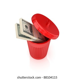 Dollar packs in a red recycle bin.Isolated on white background.3d rendered.