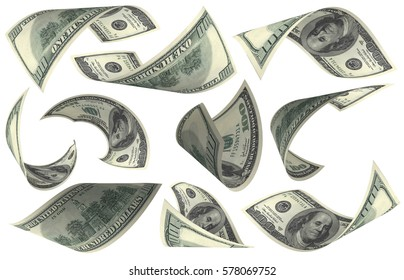 Dollar, Paper Money Set, American Banknote, Flying Money, 3D Render