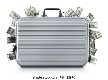 Dollar piles inside briefcase isolated on white background. 3D illustration.