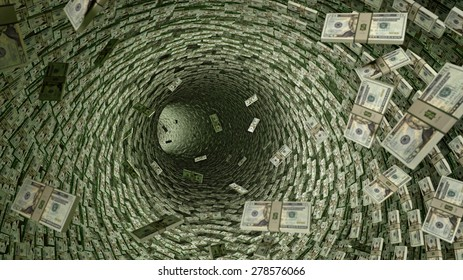 Dollar Pipeline - lots of 20 Dollar Bills. A Tunnel of money
