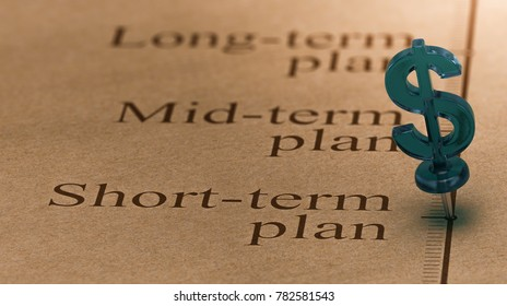 Dollar shaped pushpin, pined on a timeline in front of the text short-term plan. Concept of short term investments plan. 3D illustration.
