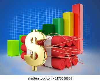 dollar sign and bomb economic financial cirisis graphic grown up 3d illustration high quality rendering