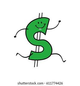 Dollar sign cartoon character running