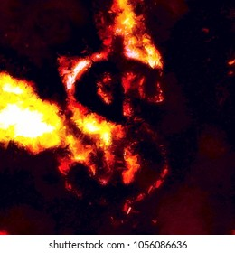Dollar sign exploding into blazing flames. Excellent for illustrating cryptocurrency and stock exchange downturn, losses or volatility. Abstract painted effect.