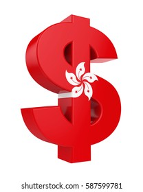 Dollar Sign with Flag of Hong Kong. 3D rendering