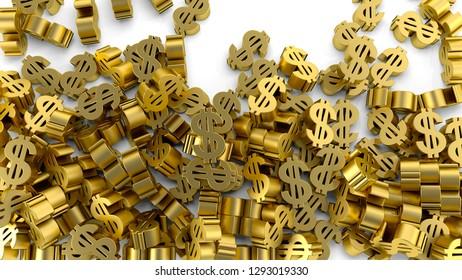 dollar sign gold finance business profit making money 3D illustration