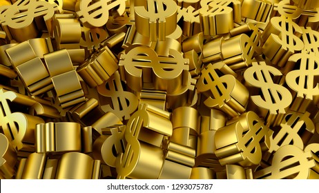 dollar sign gold finance business profit making money 3D illustration