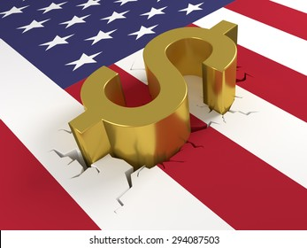 Dollar sign laying on a United States of America (USA) flag. The flag is cracked representing crash or fall of the dollar. 3D Illustration.
