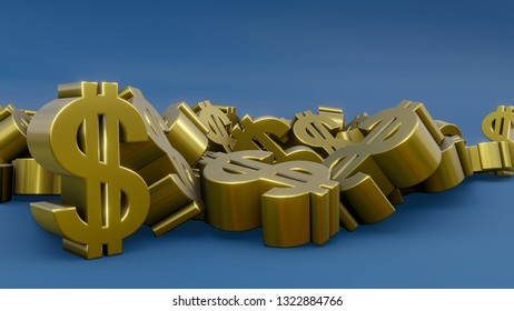 dollar sign money gold finance sale buy saving economy blue 3D illustration