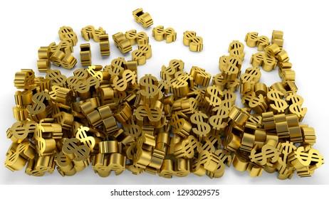 dollar sign money wealth gold symbol economy and finance 3D illustration