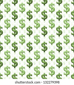 Dollar sign pattern in a grunge style against white background.