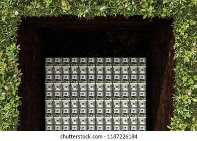 dollar stack in a grave 3d illustration