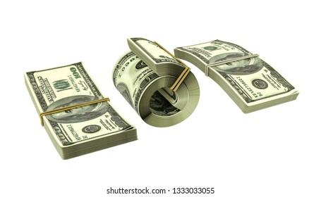 dollar stack isolated on white background 3d illustration