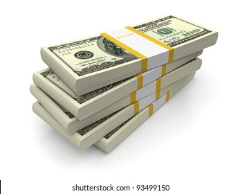 Dollar stacks on a white background. 3d image