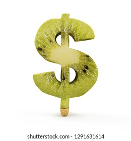 Dollar Symbol made from Kiwi isolated on white background. 3D Rendering