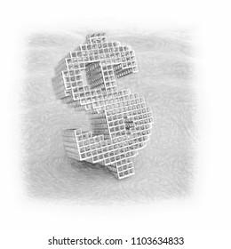 Dollar symbol - rendered 3d image
