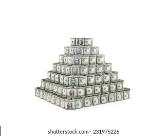 Dollars bills pyramid as symbol of main reserve currency, exchange stability or investment fraud, financial bubble, pyramid investment scheme