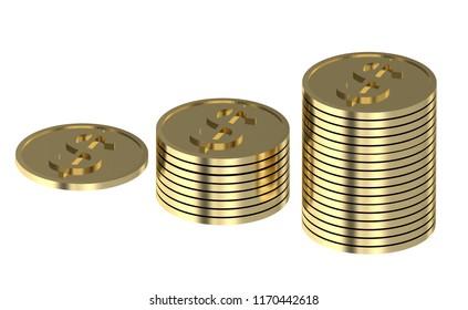 dollars coin stack 3d illustration