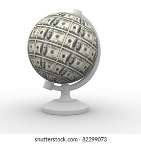 Dollars globe. This is a 3d render illustration