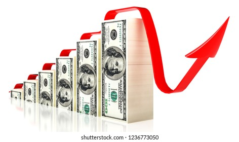 Dollars red arrow.3d illustration