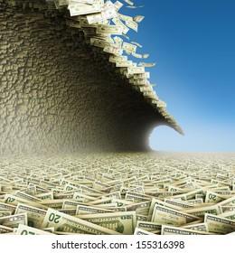 Dollars wave. Money tsunami with blue sky.