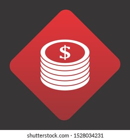 Dollor Coins Icon For Your Design,websites and projects.