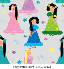 Dolls princesses in dress, girls for children seamless pattern, wallpaper, gray background