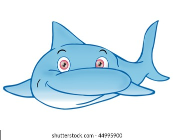 Dolphin on white background; illustration underwater-Animals of a coral reef