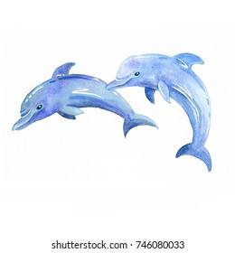Dolphin watercolor raster. Animals underwater world raster. Marine background.