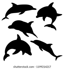 Dolphins for design and tattoo purposes, easy to use, edited and replaced