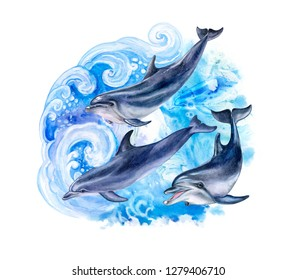 Dolphins in the sea waves. A flock of dolphins in the ocean. Composition with jumping dolphins isolated on white background. Watercolor painting. Illustration. Template. Clipart