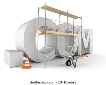Domain com isolated on white background. 3d illustration