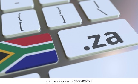 Domain .za and flag of South Africa on the buttons on the computer keyboard. National internet related 3D rendering