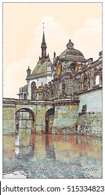 The Domaine de Chantilly. Famous French Castle Landscape. Travel France Background. Hand drawn illustration executed in watercolor and pencil. Artwork, poster, card. Retro style