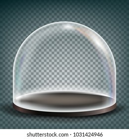 Dome. Advertising, Presentation Design Glass Element. Empty Glass Crystal Dome. Template Illustration