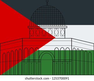 A Dome of rock with Palestine flag illustration. It is a symbol of Jerusalem is belong to Palestine.