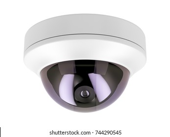 Dome surveillance camera isolated on white background, 3D illustration