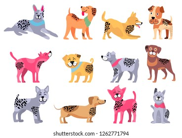 Domestic dogs of pure breeds big isolated cartoon raster illustrations set on white background. Animal symbol of 2018 year by Chinese calendar.