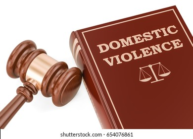 Domestic violence concept with gavel and book, 3D rendering