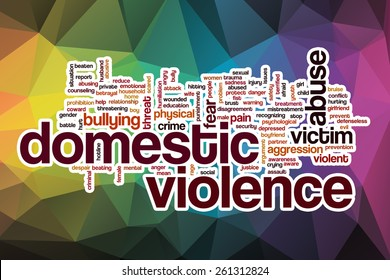 Domestic violence word cloud concept with abstract background