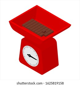Domestic weigh scales and chocolate bar. Domestic weigh scales isometric view