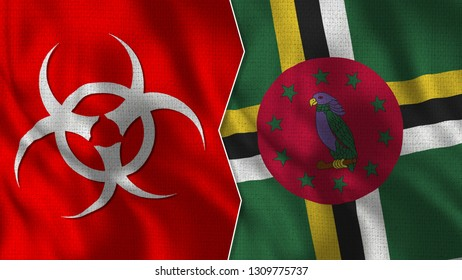 Dominica Flag and Epidemic Sign - Realistic Half Flags Together - 3D Illustratiıons
