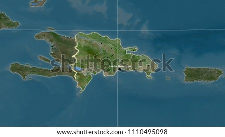 Dominican Republic Area Map Azimuthal Equidistant Stock Illustration on
