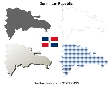 Dominican Republic blank detailed outline map set - jpeg version