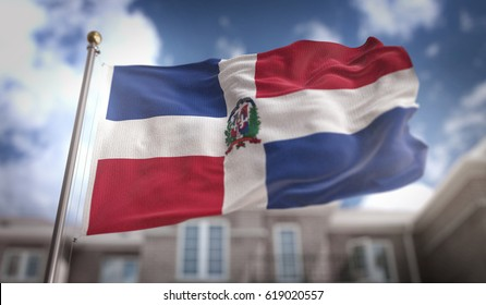 Dominican Republic Flag 3D Rendering on Blue Sky Building Background