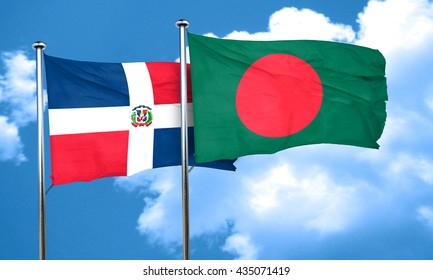 dominican republic flag with Bangladesh flag, 3D rendering