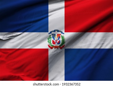 Dominican Republic flag blowing in the wind. Background texture. Santo Domingo. 3d Illustration. 3d Render.