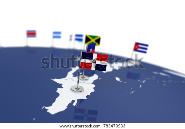 Dominican Republic flag. Country flag with chrome flagpole on the world map with neighbors countries borders. 3d illustration rendering flag