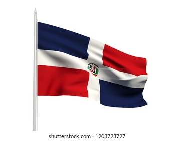 Dominican Republic flag floating in the wind with a White sky background. 3D illustration.