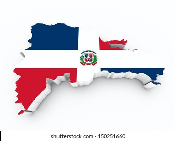 dominican republic flag on 3d map on white isolated